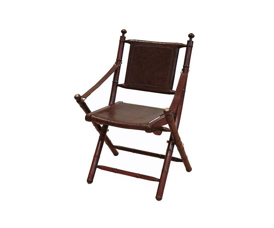 Стул складнойОбеденные стулья<br>Складной стул с кожаными подлокотниками Bamboo Folding. Конструкция выполнена из тикового дерева. Сидение и спинка из кожи коричневого цвета.<br><br>Material: Дерево<br>Ширина см: 58.0<br>Высота см: 87.0<br>Глубина см: 48.0