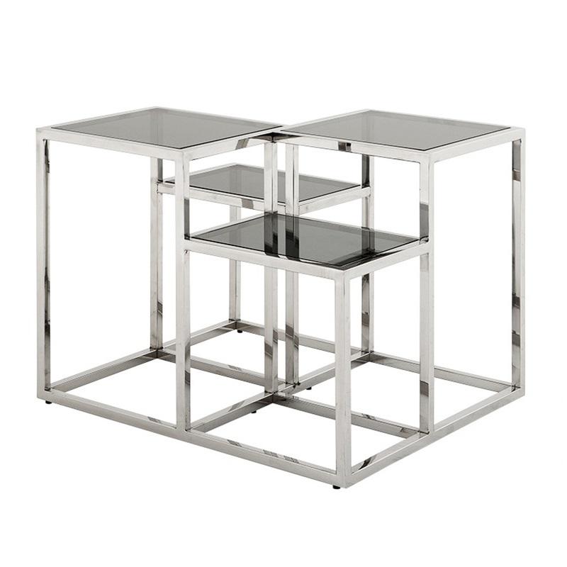 СтолЖурнальные столики<br>Столик Side Table Smythson на основании из нержавеющей стали. Полки выполнены из плотного стекла дымчатого цвета.<br><br>Material: Стекло<br>Width см: 65<br>Depth см: 65<br>Height см: 50