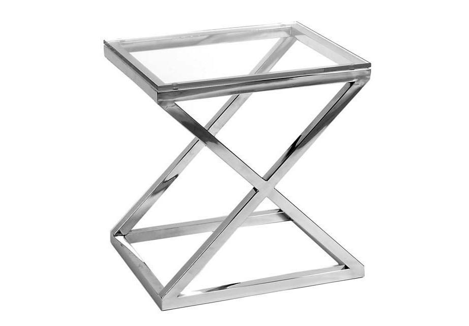 СтолПриставные столики<br>Приставной столик Side Table Criss Cross на основании из нержавеющей стали. Столешница выполнена из плотного прозрачного стекла.<br><br>Material: Стекло<br>Ширина см: 56<br>Высота см: 59<br>Глубина см: 46