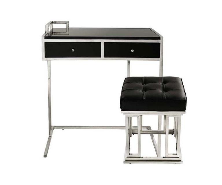 Стол с пуфомПисьменные столы<br>Письменный стол c пуфом Desk &amp;amp; Stool Equinox. Два выдвижных ящика под столешницей. Основание выполнено из нержавеющей стали. Пуф обтянут кожей черного цвета. Модель выполнена в технике &amp;amp;quot;Капитоне&amp;amp;quot;.<br><br>Material: Сталь<br>Ширина см: 75<br>Высота см: 80<br>Глубина см: 75