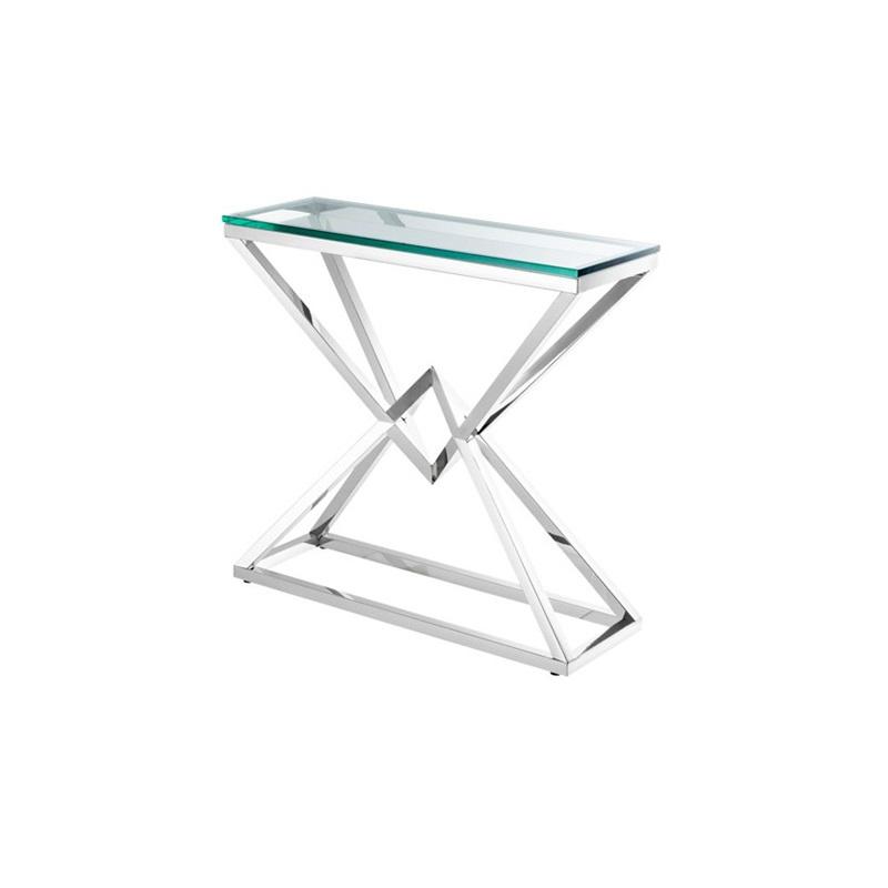 КонсольНеглубокие консоли<br>Консоль Console Table Connor на основании из полированной нержавеющей стали. Столешница выполнена из плотного прозрачного стекла.<br><br>Material: Стекло<br>Width см: 90<br>Depth см: 30<br>Height см: 82