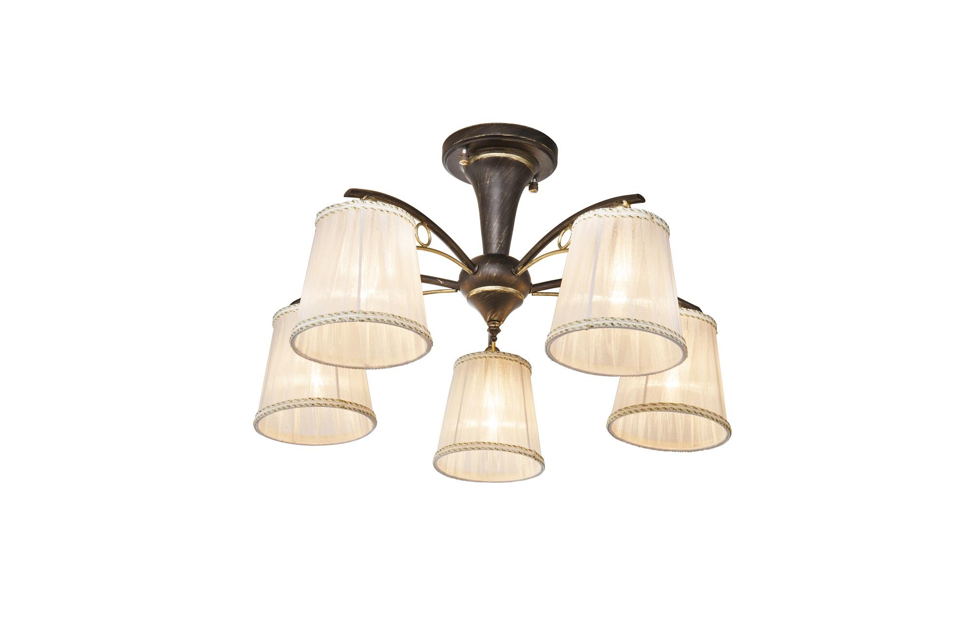 ЛюстраЛюстры потолочные<br>Вид цоколя: E14Мощность: 60WКоличество ламп: 5Материал: металл, текстиль<br><br>kit: None<br>gender: None