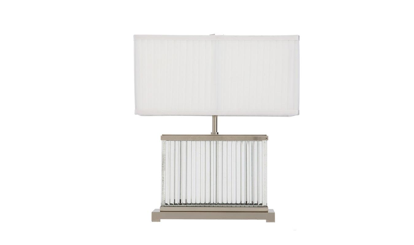 Настольная лампа NeroДекоративные лампы<br>Настольная лампа Nero с текстильным плиссированным абажуром белого цвета. Прозрачный стеклянный короб на основании.&amp;amp;nbsp;&amp;lt;div&amp;gt;&amp;lt;br&amp;gt;&amp;lt;/div&amp;gt;&amp;lt;div&amp;gt;&amp;lt;div&amp;gt;Вид цоколя: E27&amp;lt;/div&amp;gt;&amp;lt;div&amp;gt;Мощность: 60W&amp;lt;/div&amp;gt;&amp;lt;div&amp;gt;Количество ламп: 2&amp;lt;/div&amp;gt;&amp;lt;/div&amp;gt;&amp;lt;div&amp;gt;Цвет металла: никель.&amp;lt;br&amp;gt;&amp;lt;/div&amp;gt;<br><br>Material: Металл<br>Width см: 37<br>Depth см: 37<br>Height см: 44