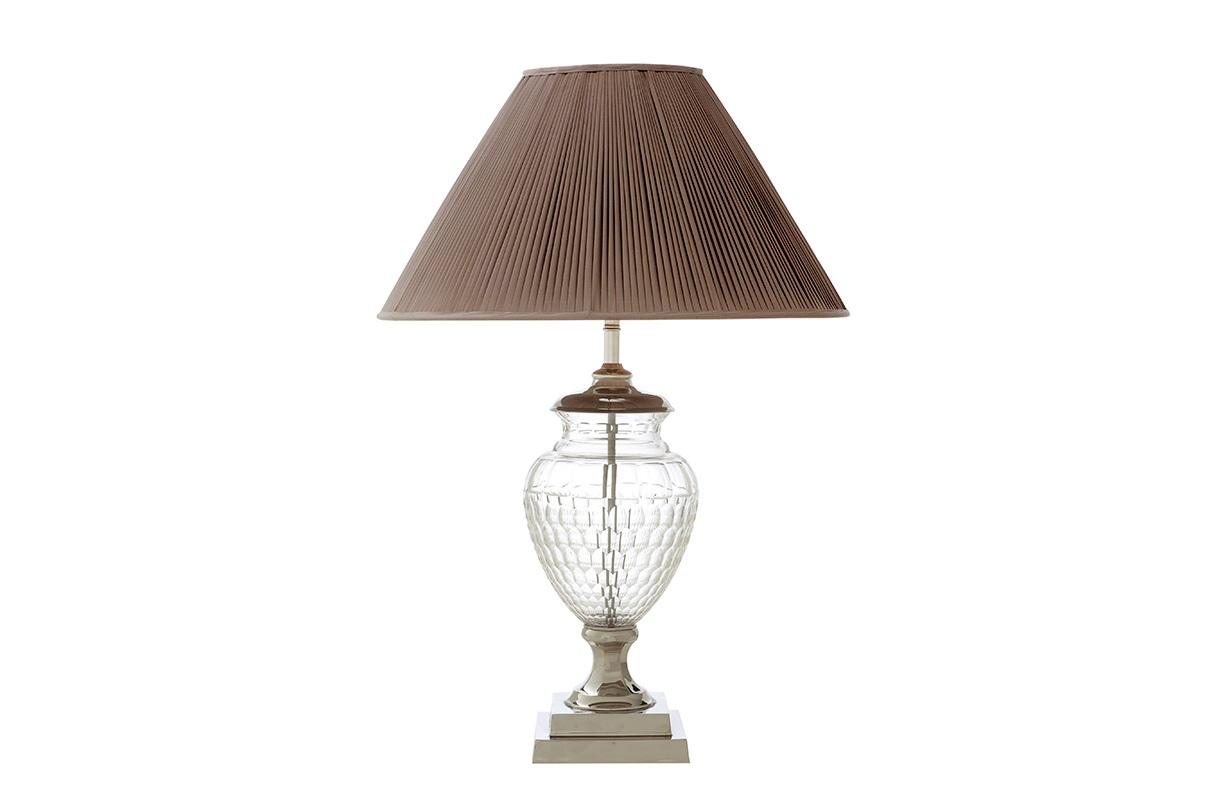 Настольная лампа СhalonДекоративные лампы<br>Настольная лампа Сhalon с текстильным плиссированным абажуром бежевого цвета. Прозрачная стеклянная ваза на основании.&amp;amp;nbsp;&amp;lt;div&amp;gt;&amp;lt;div&amp;gt;&amp;lt;br&amp;gt;&amp;lt;/div&amp;gt;&amp;lt;div&amp;gt;Вид цоколя: E27&amp;lt;/div&amp;gt;&amp;lt;div&amp;gt;Мощность: 40W&amp;lt;/div&amp;gt;&amp;lt;div&amp;gt;Количество ламп: 1&amp;lt;/div&amp;gt;&amp;lt;/div&amp;gt;&amp;lt;div&amp;gt;Цвет металла: никель.&amp;lt;/div&amp;gt;<br><br>Material: Металл<br>Height см: 78<br>Diameter см: 56