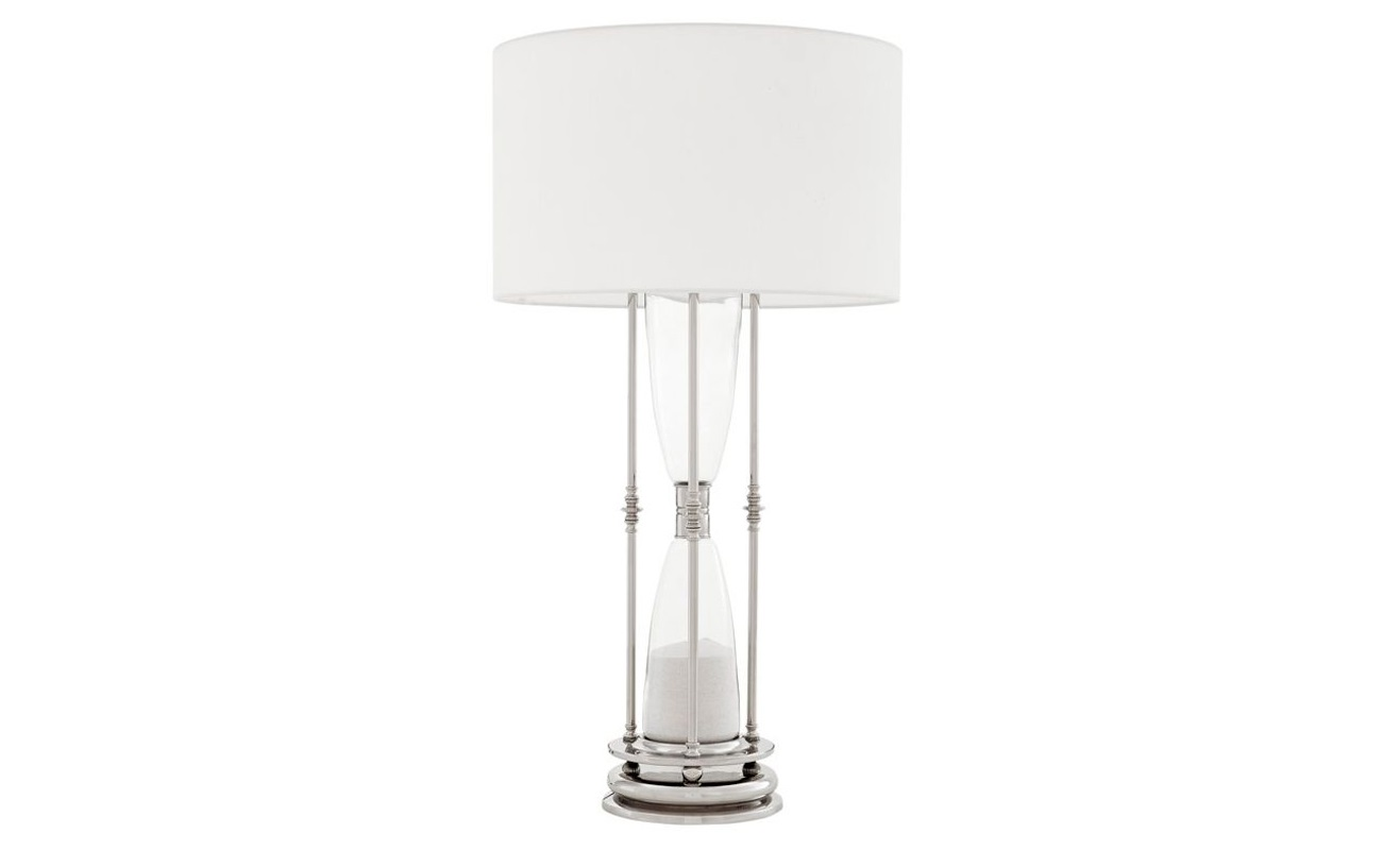 Настольная лампа glass Декоративные лампы<br>Настольная лампа Hour glass на никелированном основании.&amp;amp;nbsp;&amp;lt;div&amp;gt;Декор: имитация песочных часов, встроеных в основание.&amp;amp;nbsp;&amp;lt;/div&amp;gt;&amp;lt;div&amp;gt;Текстильный абажур белого цвета.&amp;lt;/div&amp;gt;&amp;lt;div&amp;gt;&amp;lt;div&amp;gt;&amp;lt;br&amp;gt;&amp;lt;/div&amp;gt;&amp;lt;div&amp;gt;Вид цоколя: E27&amp;lt;/div&amp;gt;&amp;lt;div&amp;gt;Мощность: 40W&amp;lt;/div&amp;gt;&amp;lt;div&amp;gt;Количество ламп: 1&amp;lt;/div&amp;gt;&amp;lt;/div&amp;gt;<br><br>Material: Металл<br>Height см: 100<br>Diameter см: 50