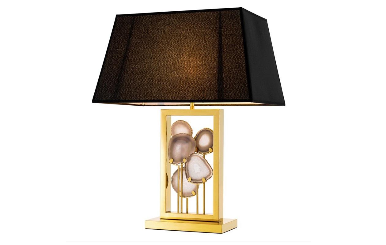 Настольная лампа MargielaДекоративные лампы<br>Настольная лампа Table Lamp Margiela на основании из металла золотого цвета.&amp;amp;nbsp;&amp;lt;div&amp;gt;Декор: натуральный камень агат на основании.&amp;amp;nbsp;&amp;lt;/div&amp;gt;&amp;lt;div&amp;gt;Текстильный абажур черного цвета скрывает лампу.&amp;amp;nbsp;&amp;lt;/div&amp;gt;&amp;lt;div&amp;gt;Лампочка в комплект не входит.&amp;lt;/div&amp;gt;&amp;lt;div&amp;gt;&amp;lt;br&amp;gt;&amp;lt;/div&amp;gt;&amp;lt;div&amp;gt;Вид цоколя: Е27&amp;lt;/div&amp;gt;&amp;lt;div&amp;gt;Мощность: 40W&amp;lt;/div&amp;gt;&amp;lt;div&amp;gt;Количество ламп: 1&amp;lt;/div&amp;gt;&amp;lt;div&amp;gt;&amp;lt;br&amp;gt;&amp;lt;/div&amp;gt;<br><br>Material: Металл<br>Ширина см: 50<br>Высота см: 66<br>Глубина см: 25