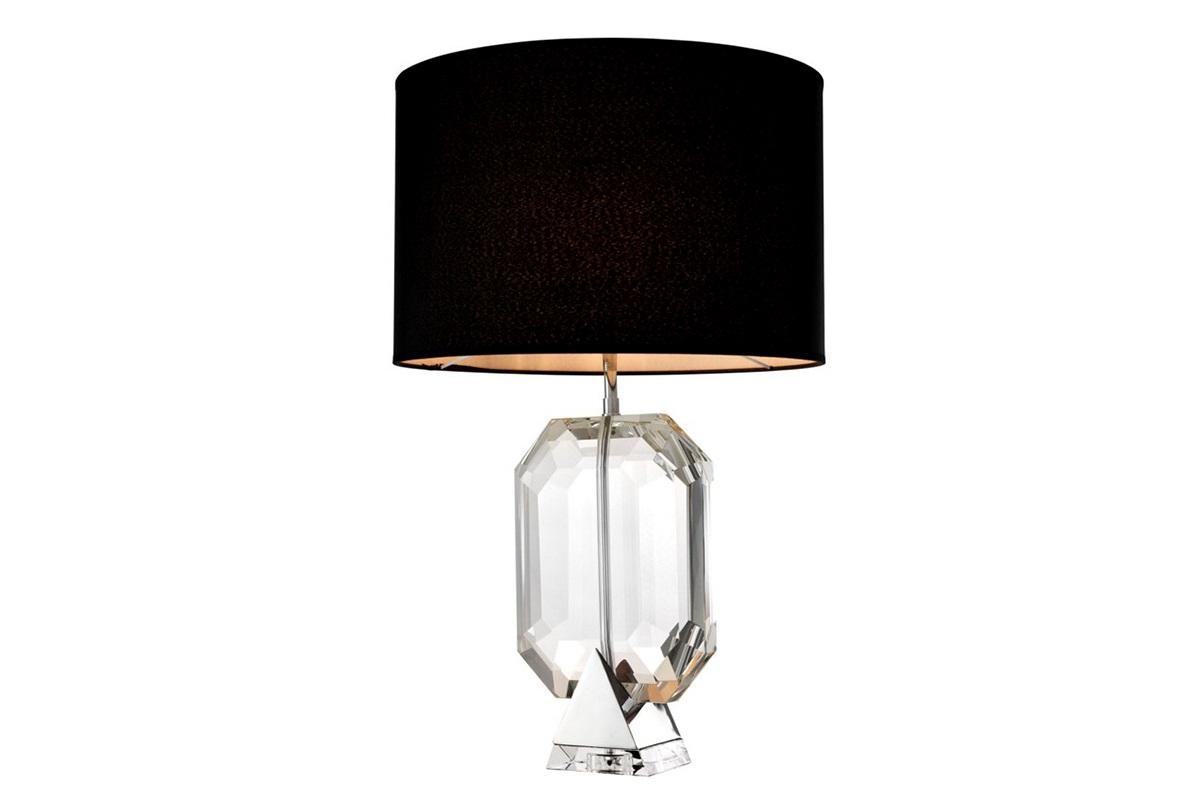 Настольная лампа EmeraldДекоративные лампы<br>Настольная лампа Table Lamp Emerald на основании из никелированного металла. Текстильный абажур черного цвета скрывает лампу.&amp;amp;nbsp;&amp;lt;div&amp;gt;Ваза выполнена их прозрачного стекла в виде драгоценного камня.&amp;lt;/div&amp;gt;&amp;lt;div&amp;gt;&amp;lt;br&amp;gt;&amp;lt;/div&amp;gt;&amp;lt;div&amp;gt;Вид цоколя: Е27&amp;lt;/div&amp;gt;&amp;lt;div&amp;gt;Мощность: 40W&amp;lt;/div&amp;gt;&amp;lt;div&amp;gt;Количество ламп: 1&amp;lt;/div&amp;gt;&amp;lt;div&amp;gt;&amp;lt;br&amp;gt;&amp;lt;/div&amp;gt;<br><br>Material: Металл<br>Height см: 70<br>Diameter см: 45