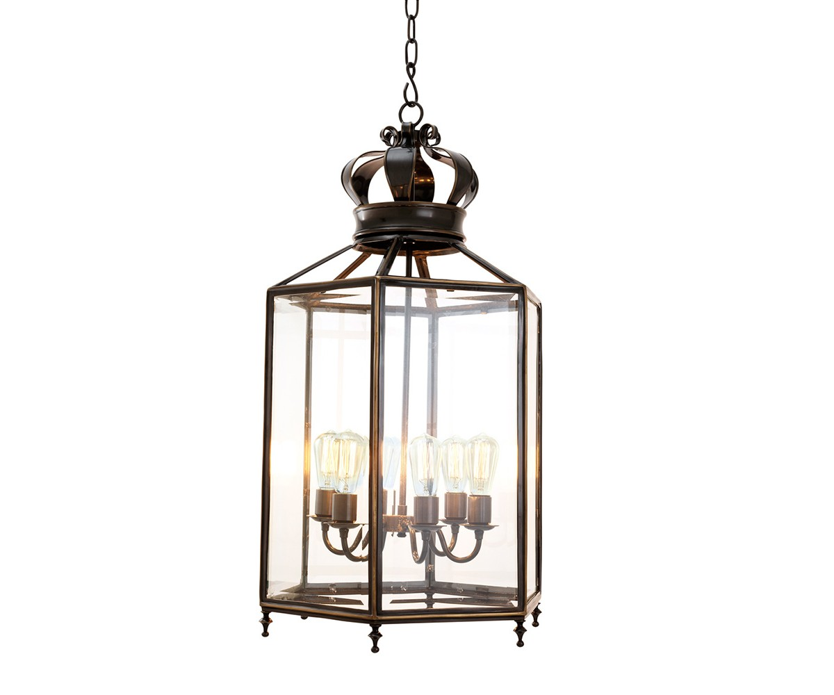 Подвесной светильникПодвесные светильники<br>Подвесной светильник-лантерна из коллекции Lantern Grandos на арматуре из металла темно-коричневого цвета. Створки плафона выполнены из прозрачного стекла. Высота светильника регулируется за счет звеньев цепи. Лампочки в комплект не входят.&amp;lt;div&amp;gt;&amp;lt;br&amp;gt;&amp;lt;/div&amp;gt;&amp;lt;div&amp;gt;&amp;lt;div&amp;gt;Цоколь: E27&amp;lt;/div&amp;gt;&amp;lt;div&amp;gt;Мощность: 40W&amp;lt;/div&amp;gt;&amp;lt;div&amp;gt;Количество ламп: 6&amp;lt;/div&amp;gt;&amp;lt;/div&amp;gt;<br><br>Material: Металл<br>Width см: 47.5<br>Depth см: мета<br>Height см: 96