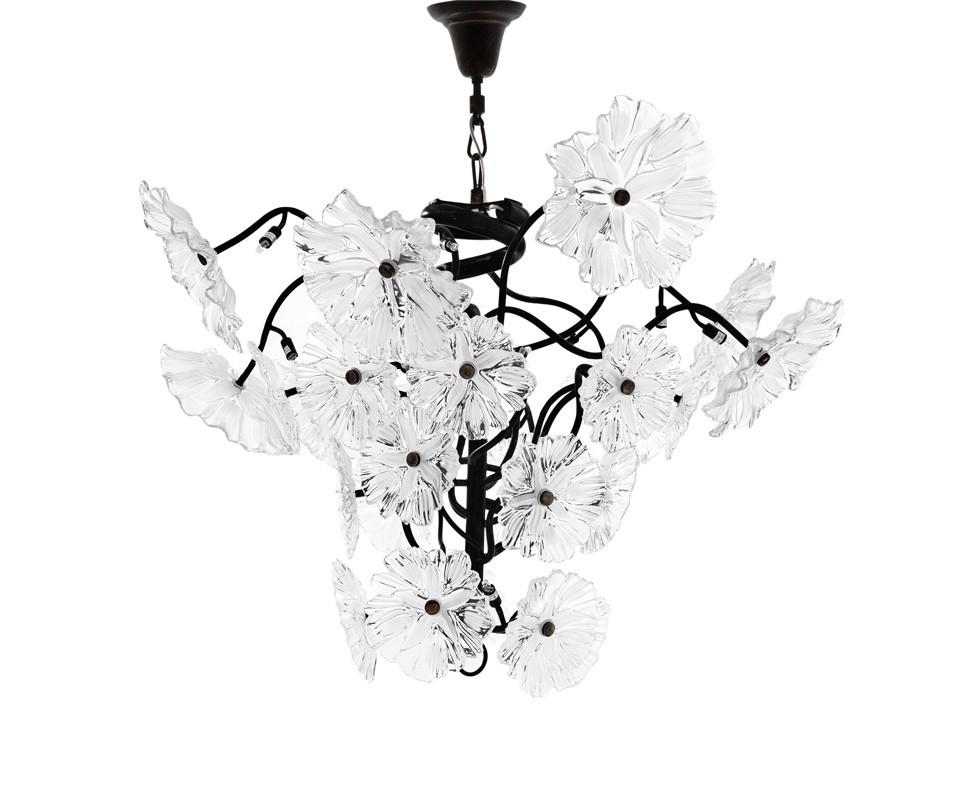 Подвесной светильникПодвесные светильники<br>Подвесной светильник Chandelier Swanson на металлической арматуре цвета античная латунь. Плафон выполнен из множества цветов, выполненых из прозрачного стекла. Высота светильника регулируется за счет звеньев цепи.&amp;lt;div&amp;gt;&amp;lt;br&amp;gt;&amp;lt;/div&amp;gt;&amp;lt;div&amp;gt;&amp;lt;div&amp;gt;Цоколь: G9&amp;lt;/div&amp;gt;&amp;lt;div&amp;gt;Мощность: 25W&amp;lt;/div&amp;gt;&amp;lt;div&amp;gt;Количество ламп: 24&amp;lt;/div&amp;gt;&amp;lt;/div&amp;gt;<br><br>Material: Металл<br>Height см: 90<br>Diameter см: 130