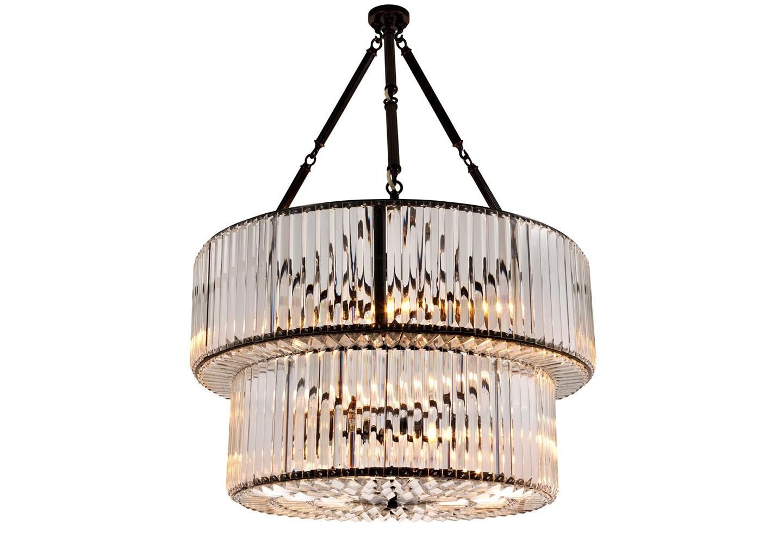 Подвесной светильникПодвесные светильники<br>Подвесной светильник из коллекции Chandelier Infinity Double на металлической арматуре черно-коричневого цвета. Двухуровневый плафон выполнен из фактурного прозрачного стекла. Высота светильника регулируется за счет звеньев цепи.&amp;amp;nbsp;&amp;lt;div&amp;gt;&amp;lt;br&amp;gt;&amp;lt;/div&amp;gt;&amp;lt;div&amp;gt;&amp;lt;div&amp;gt;Цоколь: E14&amp;lt;/div&amp;gt;&amp;lt;div&amp;gt;Мощность: 40W&amp;lt;/div&amp;gt;&amp;lt;div&amp;gt;Количество ламп: 6&amp;lt;/div&amp;gt;&amp;lt;/div&amp;gt;&amp;lt;div&amp;gt;&amp;lt;br&amp;gt;&amp;lt;/div&amp;gt;<br><br>Material: Металл<br>Width см: 67<br>Depth см: 67<br>Height см: 90