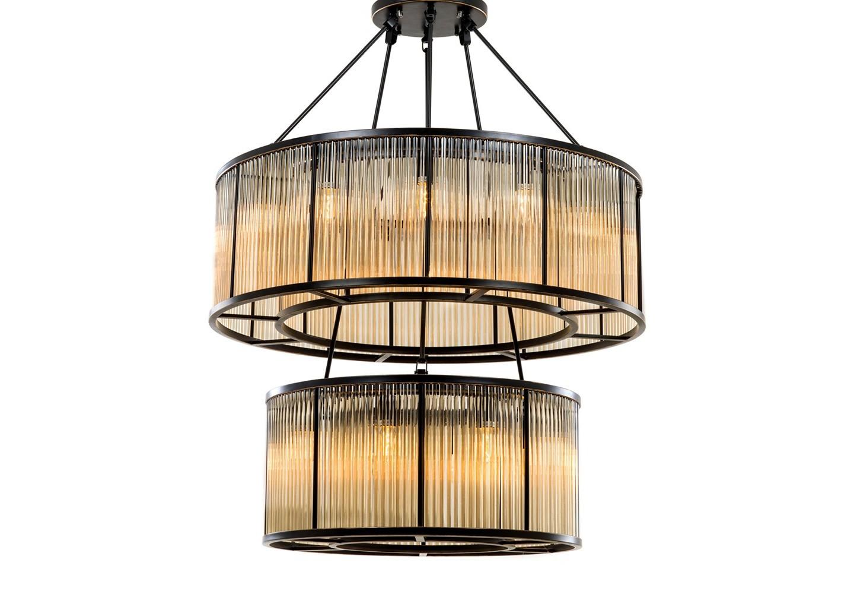 Подвесная люстраЛюстры подвесные<br>Подвесной светильник из коллекции Chandelier Infinity Double на металлической арматуре бронзового цвета. Двухуровневый плафон выполнен из фактурного прозрачного стекла. Высота светильника регулируется за счет звеньев цепи.&amp;amp;nbsp;&amp;lt;div&amp;gt;&amp;lt;br&amp;gt;&amp;lt;/div&amp;gt;&amp;lt;div&amp;gt;&amp;lt;div&amp;gt;Цоколь: E14&amp;lt;/div&amp;gt;&amp;lt;div&amp;gt;Мощность: 40W&amp;lt;/div&amp;gt;&amp;lt;div&amp;gt;Количество ламп: 20&amp;lt;/div&amp;gt;&amp;lt;/div&amp;gt;<br><br>Material: Стекло<br>Height см: 116<br>Diameter см: 90