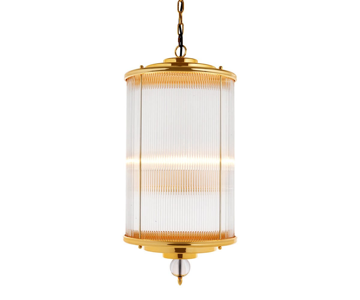 Подвесной светильникПодвесные светильники<br>Подвесной светильник-лантерна из коллекции Lantern Clarendon на арматуре из металла золотого цвета. Плафон выполнен из фактурного прозрачного стекла. Внутри плафона располагаются 4 лампы. Декоративный стеклянный шар под плафоном. Высота светильника регулируется за счет звеньев цепи.&amp;amp;nbsp;&amp;lt;div&amp;gt;&amp;lt;br&amp;gt;&amp;lt;/div&amp;gt;&amp;lt;div&amp;gt;&amp;lt;div&amp;gt;Цоколь: E14&amp;lt;/div&amp;gt;&amp;lt;div&amp;gt;Мощность: 60W&amp;lt;/div&amp;gt;&amp;lt;div&amp;gt;Количество ламп: 4&amp;lt;/div&amp;gt;&amp;lt;/div&amp;gt;<br><br>Material: Металл<br>Height см: 85<br>Diameter см: 38