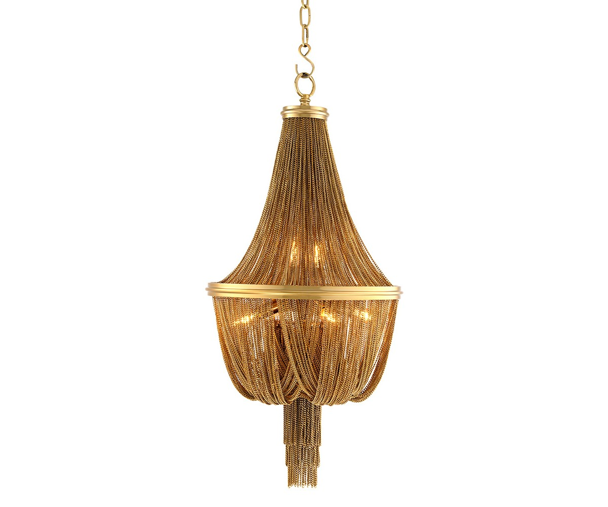 Люстра MartinezЛюстры подвесные<br>Люстра Chandelier Martinez S выполнена из металла золотого цвета. Люстра декорирована тонкими ниспадающими и собранными вместе мелкими цепочками. Высота светильника регулируется за счет звеньев цепи.&amp;amp;nbsp;&amp;lt;span style=&amp;quot;font-size: 14px;&amp;quot;&amp;gt;Лампочки в комплект не входят.&amp;lt;/span&amp;gt;&amp;lt;div&amp;gt;&amp;lt;span style=&amp;quot;font-size: 14px;&amp;quot;&amp;gt;&amp;lt;br&amp;gt;&amp;lt;/span&amp;gt;&amp;lt;/div&amp;gt;&amp;lt;div&amp;gt;&amp;lt;div&amp;gt;Цоколь: E14&amp;lt;/div&amp;gt;&amp;lt;div&amp;gt;Мощность: 40W&amp;lt;/div&amp;gt;&amp;lt;div&amp;gt;Количество ламп: 6&amp;lt;/div&amp;gt;&amp;lt;/div&amp;gt;<br><br>Material: Металл<br>Height см: 84<br>Diameter см: 44