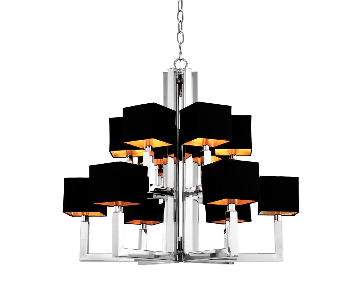Люстра PavillionЛюстры подвесные<br>Подвесной светильник 12-ти рожковый Chandelier Pavillion на арматуре из нержавеющей стали. Абажуры черного цвета выполнены из плотного текстиля. Высота светильника регулируется за счет звеньев цепи.&amp;lt;div&amp;gt;&amp;lt;br&amp;gt;&amp;lt;/div&amp;gt;&amp;lt;div&amp;gt;&amp;lt;div&amp;gt;Цоколь: E14&amp;lt;/div&amp;gt;&amp;lt;div&amp;gt;Мощность: 40W&amp;lt;/div&amp;gt;&amp;lt;div&amp;gt;Количество ламп: 12&amp;lt;/div&amp;gt;&amp;lt;/div&amp;gt;<br><br>Material: Сталь<br>Height см: 75.5<br>Diameter см: 77.5