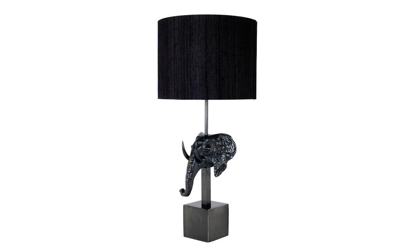 Настольная лампа KrugerДекоративные лампы<br>Настольная лампа Lamp Table Kruger с основанием из черного никеля в виде слоновьей головы.&amp;amp;nbsp;&amp;lt;div&amp;gt;Текстильный плиссированный абажур черного цвета скрывает лампу.&amp;lt;/div&amp;gt;&amp;lt;div&amp;gt;&amp;lt;br&amp;gt;&amp;lt;/div&amp;gt;&amp;lt;div&amp;gt;Вид цоколя: Е27&amp;lt;br&amp;gt;&amp;lt;/div&amp;gt;&amp;lt;div&amp;gt;Мощность: 40W&amp;lt;/div&amp;gt;&amp;lt;div&amp;gt;Количество ламп: 1&amp;lt;/div&amp;gt;&amp;lt;div&amp;gt;&amp;lt;br&amp;gt;&amp;lt;/div&amp;gt;<br><br>Material: Металл<br>Height см: 80<br>Diameter см: 35