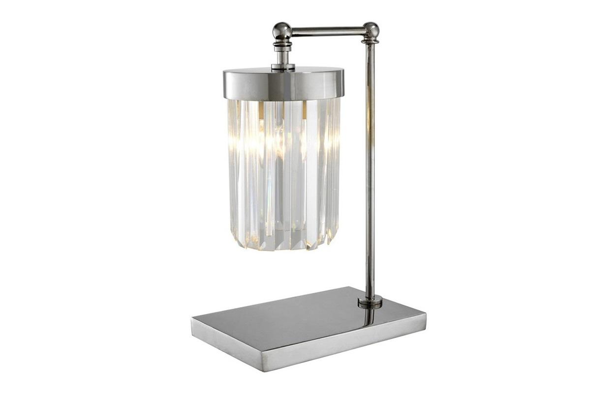 Настольная лампа InfinityДекоративные лампы<br>Настольная лампа Infinity на никелированном основании.&amp;nbsp;Плафон выполнен из прозрачного фактурного стекла.Вид цоколя: Е27Мощность: 40WКоличество ламп: 1<br><br>kit: None<br>gender: None