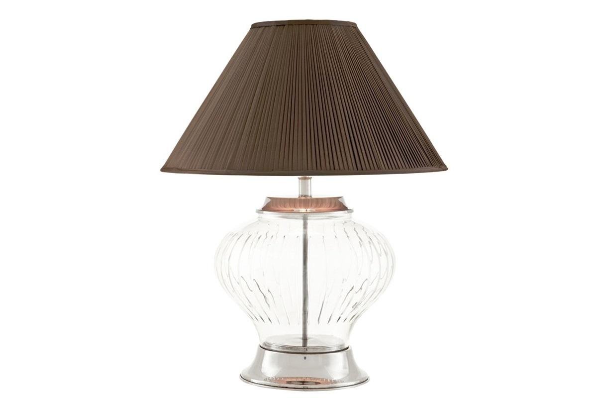 Настольная лампа ChalonДекоративные лампы<br>Настольная лампа Table Lamp Chalon с текстильным плиссированным абажуром темно-серого цвета.&amp;amp;nbsp;&amp;lt;div&amp;gt;Прозрачная стеклянная ваза на основании.&amp;amp;nbsp;&amp;lt;/div&amp;gt;&amp;lt;div&amp;gt;Цвет металла: никель.&amp;lt;/div&amp;gt;&amp;lt;div&amp;gt;&amp;lt;br&amp;gt;&amp;lt;/div&amp;gt;&amp;lt;div&amp;gt;Вид цоколя: Е27&amp;lt;/div&amp;gt;&amp;lt;div&amp;gt;Мощность: 40W&amp;lt;/div&amp;gt;&amp;lt;div&amp;gt;Количество ламп: 1&amp;lt;/div&amp;gt;&amp;lt;div&amp;gt;&amp;lt;br&amp;gt;&amp;lt;/div&amp;gt;<br><br>Material: Стекло<br>Height см: 68<br>Diameter см: 56