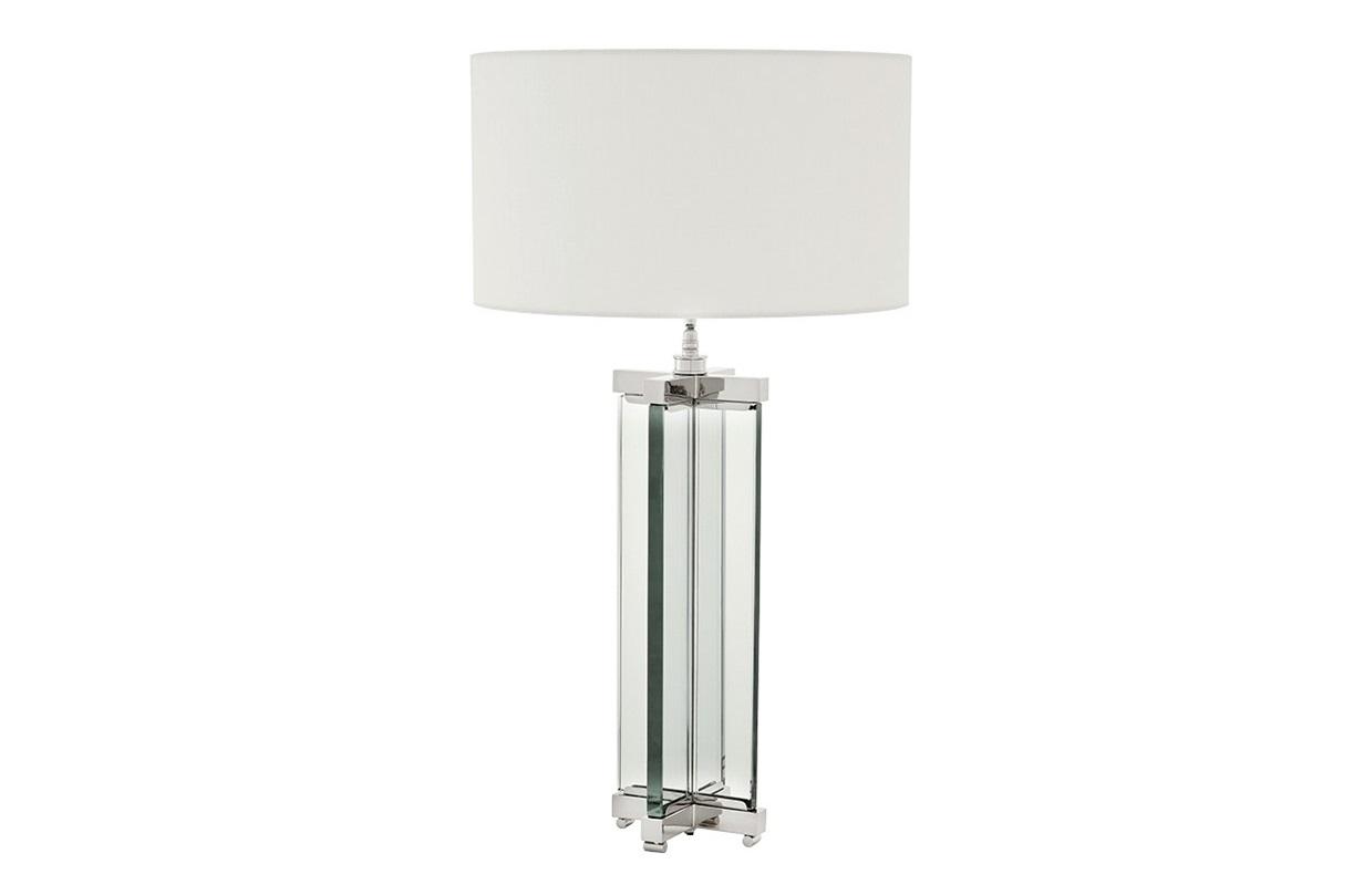 Настольная лампа AtlantisДекоративные лампы<br>Настольная лампа Table Lamp Atlantis в современном стиле.&amp;amp;nbsp;&amp;lt;div&amp;gt;На прямоугольное основание из прозрачного стекла установлен классический абажур из белой ткани.&amp;lt;/div&amp;gt;&amp;lt;div&amp;gt;&amp;amp;nbsp;Цвет отделки металла - никель.&amp;lt;/div&amp;gt;&amp;lt;div&amp;gt;Мощность: 1 х 40W&amp;lt;/div&amp;gt;&amp;lt;div&amp;gt;Цоколь: Е27&amp;lt;/div&amp;gt;<br><br>Material: Текстиль<br>Height см: 91<br>Diameter см: 45
