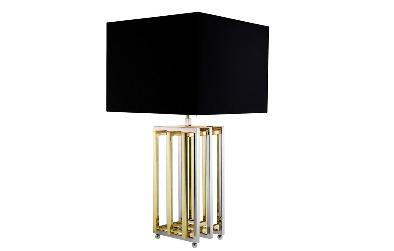 Настольная лампа MudoДекоративные лампы<br>Настольная лампа Table Lamp Mudo на основании из никелированного металла с элементами золотого цвета. Текстильный абажур черного цвета.&amp;lt;div&amp;gt;&amp;lt;br&amp;gt;&amp;lt;/div&amp;gt;&amp;lt;div&amp;gt;Вид цоколя: Е27&amp;lt;/div&amp;gt;&amp;lt;div&amp;gt;Мощность: 40W&amp;lt;/div&amp;gt;&amp;lt;div&amp;gt;Количество ламп: 1&amp;lt;/div&amp;gt;&amp;lt;div&amp;gt;&amp;lt;br&amp;gt;&amp;lt;/div&amp;gt;<br><br>Material: Текстиль<br>Width см: 40<br>Depth см: 40<br>Height см: 85