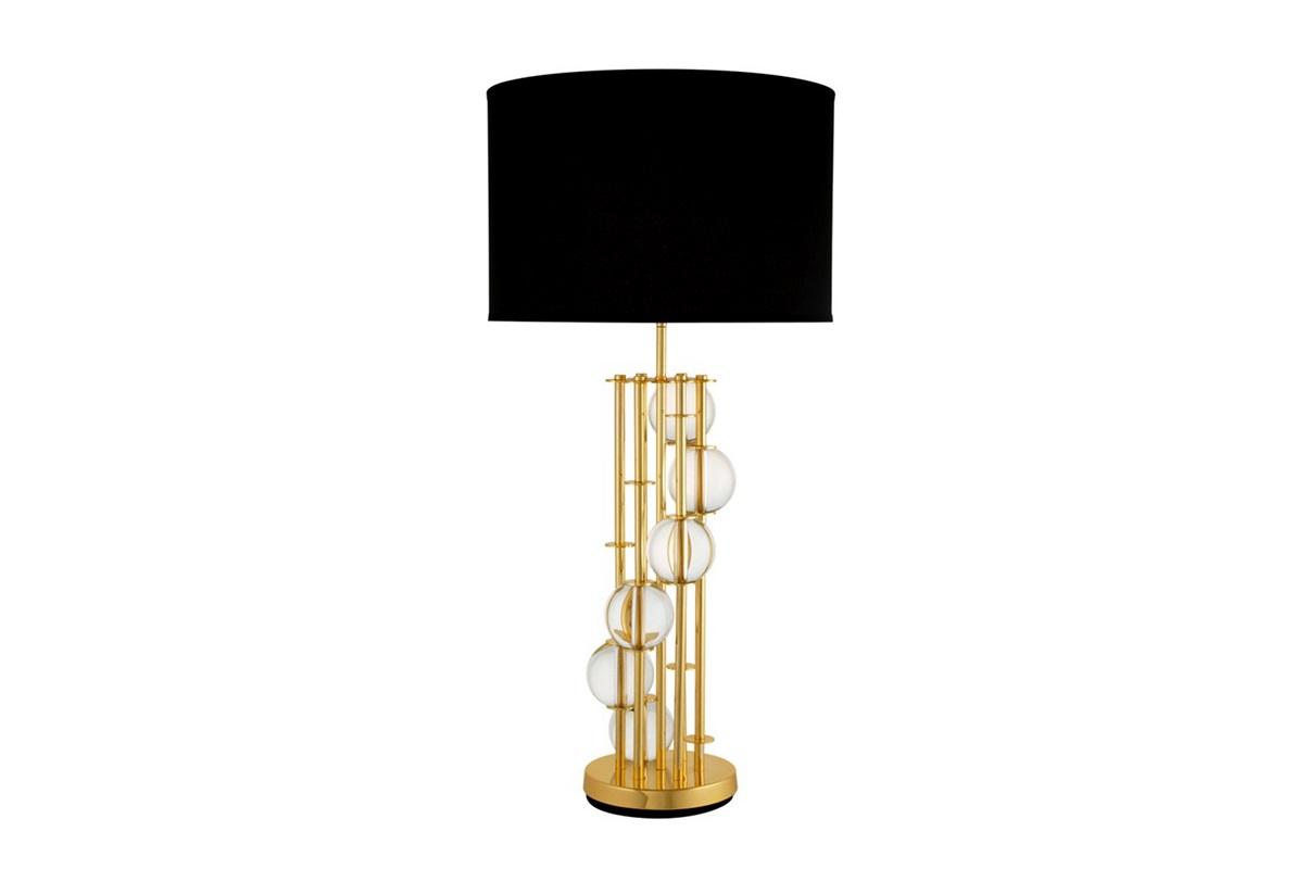 Настольная лампа LorenzoДекоративные лампы<br>Настольная лампа Table Lamp Lorenzo на металлическом основании золотого цвета.&amp;amp;nbsp;&amp;lt;div&amp;gt;Текстильный плиссированный абажур черного цвета. На основании декоративные шары из прозрачного стекла.&amp;lt;/div&amp;gt;&amp;lt;div&amp;gt;&amp;lt;br&amp;gt;&amp;lt;/div&amp;gt;&amp;lt;div&amp;gt;Вид цоколя: Е27&amp;lt;/div&amp;gt;&amp;lt;div&amp;gt;Мощность: 60W&amp;lt;/div&amp;gt;&amp;lt;div&amp;gt;Количество ламп: 1&amp;lt;/div&amp;gt;&amp;lt;div&amp;gt;&amp;lt;br&amp;gt;&amp;lt;/div&amp;gt;<br><br>Material: Текстиль<br>Height см: 85<br>Diameter см: 45