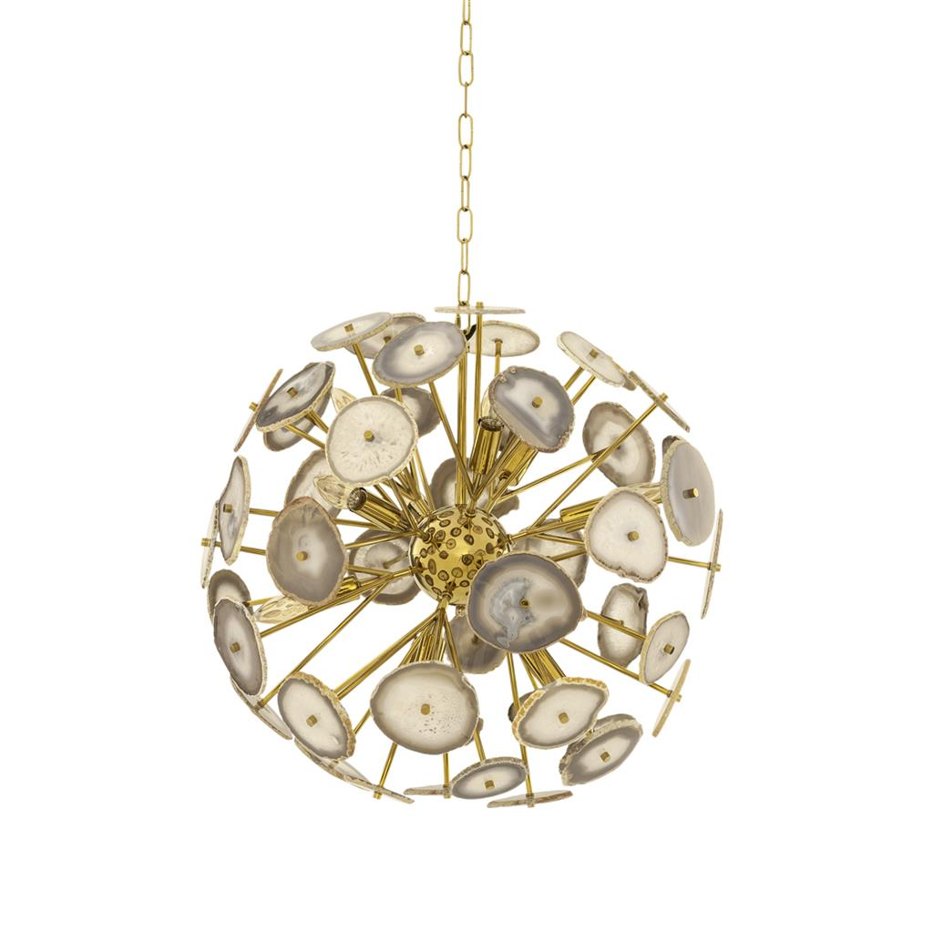 Подвесной светильник Branquinho SПодвесные светильники<br>Подвесной светильник Chandelier Branquinho S с оригинальным дизайном. 12 плафонов из натурального камня агата. Арматура выполнена из металла золотого цвета. Высота светильника регулируется до 150 см.&amp;lt;div&amp;gt;&amp;lt;br&amp;gt;&amp;lt;/div&amp;gt;&amp;lt;div&amp;gt;&amp;lt;div&amp;gt;Цоколь: E14&amp;lt;/div&amp;gt;&amp;lt;div&amp;gt;Мощность: 40W&amp;lt;/div&amp;gt;&amp;lt;div&amp;gt;Количество ламп: 12&amp;lt;/div&amp;gt;&amp;lt;/div&amp;gt;<br><br>Material: Камень<br>Height см: 60<br>Diameter см: 60