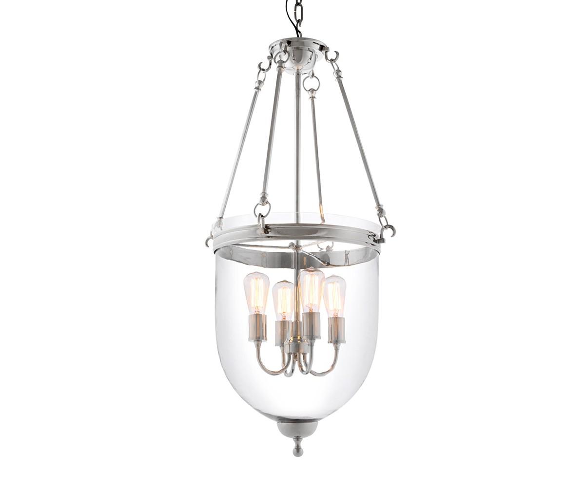 Подвесной светильникПодвесные светильники<br>Подвесной светильник-лантерна из коллекции Lantern Cameron M на арматуре из никелированного металла. Плафон выполнен из прозрачного стекла. Внутри плафона располагаются 4 лампы в виде свечей. Высота светильника регулируется за счет звеньев цепи.&amp;amp;nbsp;&amp;lt;div&amp;gt;&amp;lt;br&amp;gt;&amp;lt;/div&amp;gt;&amp;lt;div&amp;gt;&amp;lt;div&amp;gt;Цоколь: E27&amp;lt;/div&amp;gt;&amp;lt;div&amp;gt;Мощность: 40W&amp;lt;/div&amp;gt;&amp;lt;div&amp;gt;Количество ламп: 4&amp;lt;/div&amp;gt;&amp;lt;/div&amp;gt;<br><br>Material: Стекло<br>Height см: 100<br>Diameter см: 50