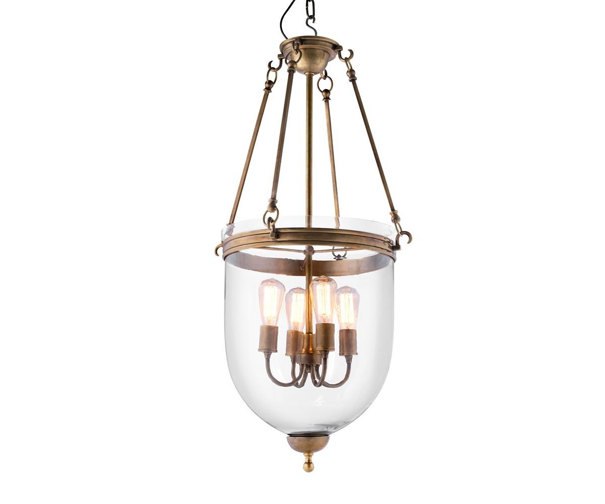 Подвесной светильникПодвесные светильники<br>Подвесной светильник-лантерна из коллекции Lantern Cameron M на арматуре из металла цвета состаренная латунь. Плафон выполнен из прозрачного стекла. Внутри плафона располагаются 4 лампы. Высота светильника регулируется за счет звеньев цепи.&amp;amp;nbsp;&amp;lt;div&amp;gt;&amp;lt;br&amp;gt;&amp;lt;/div&amp;gt;&amp;lt;div&amp;gt;&amp;lt;div&amp;gt;Цоколь: E27&amp;lt;/div&amp;gt;&amp;lt;div&amp;gt;Мощность: 40W&amp;lt;/div&amp;gt;&amp;lt;div&amp;gt;Количество ламп: 4&amp;lt;/div&amp;gt;&amp;lt;/div&amp;gt;<br><br>Material: Стекло<br>Height см: 100<br>Diameter см: 50
