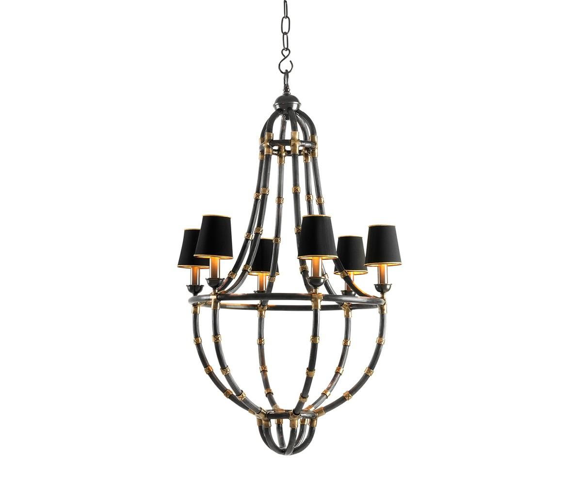 Подвесная люстраЛюстры подвесные<br>Подвесной светильник 6-ти рожковый из коллекции Chandelier Moreaux L на металлической арматуре цвета темно-серая бронза. Тканевые абажуры черного цвета скрывают лампы. Высота светильника регулируется за счет звеньев цепи. Лампочки в комлект не входят.&amp;lt;div&amp;gt;&amp;lt;br&amp;gt;&amp;lt;/div&amp;gt;&amp;lt;div&amp;gt;&amp;lt;div&amp;gt;Цоколь: E14&amp;lt;/div&amp;gt;&amp;lt;div&amp;gt;Мощность: 40W&amp;lt;/div&amp;gt;&amp;lt;div&amp;gt;Количество ламп: 6&amp;lt;/div&amp;gt;&amp;lt;/div&amp;gt;<br><br>Material: Металл<br>Ширина см: 55.0<br>Высота см: 112.0<br>Глубина см: 55.0