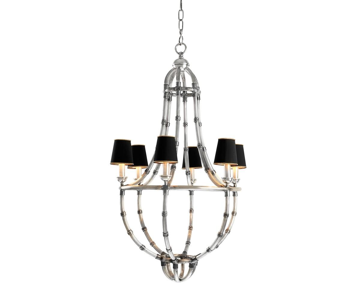 Подвесная люстраЛюстры подвесные<br>Подвесной светильник 6-ти рожковый из коллекции Chandelier Moreaux L на металлической арматуре цвета античное серебро. Тканевые абажуры черного цвета скрывают лампы. Высота светильника регулируется за счет звеньев цепи. Лампочки в комплект не входят.&amp;lt;div&amp;gt;&amp;lt;br&amp;gt;&amp;lt;/div&amp;gt;&amp;lt;div&amp;gt;&amp;lt;div&amp;gt;Цоколь: E14&amp;lt;/div&amp;gt;&amp;lt;div&amp;gt;Мощность: 40W&amp;lt;/div&amp;gt;&amp;lt;div&amp;gt;Количество ламп: 6&amp;lt;/div&amp;gt;&amp;lt;/div&amp;gt;<br><br>Material: Металл<br>Высота см: 112