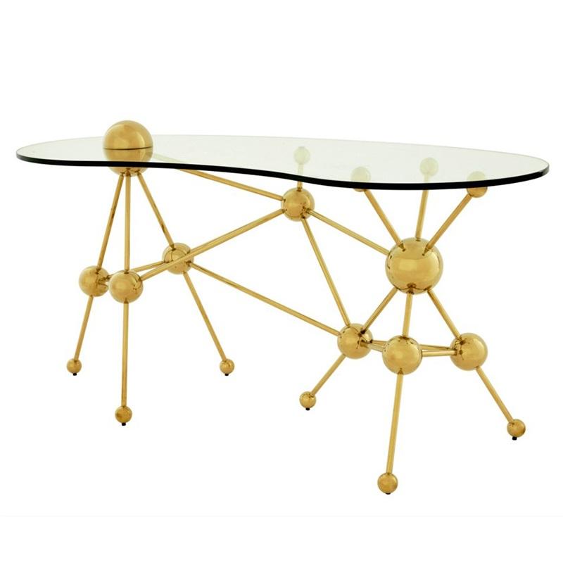 СтолПисьменные столы<br>Письменный стол Desk Table Galileo на основании из металла золотого цвета с оригинальным дизайном в научном стиле. Столешница выполнена из плотного прозрачного стекла.<br><br>Material: Стекло<br>Ширина см: 160<br>Высота см: 76<br>Глубина см: 75