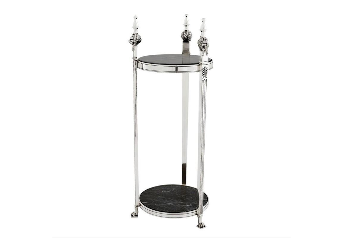 СтолДругое<br>Столик из коллекции Side Table Agnelli выполнен из металла цвета античное серебро. Столешница и основание выполнены из мрамора черного цвета.<br><br>kit: None<br>gender: None