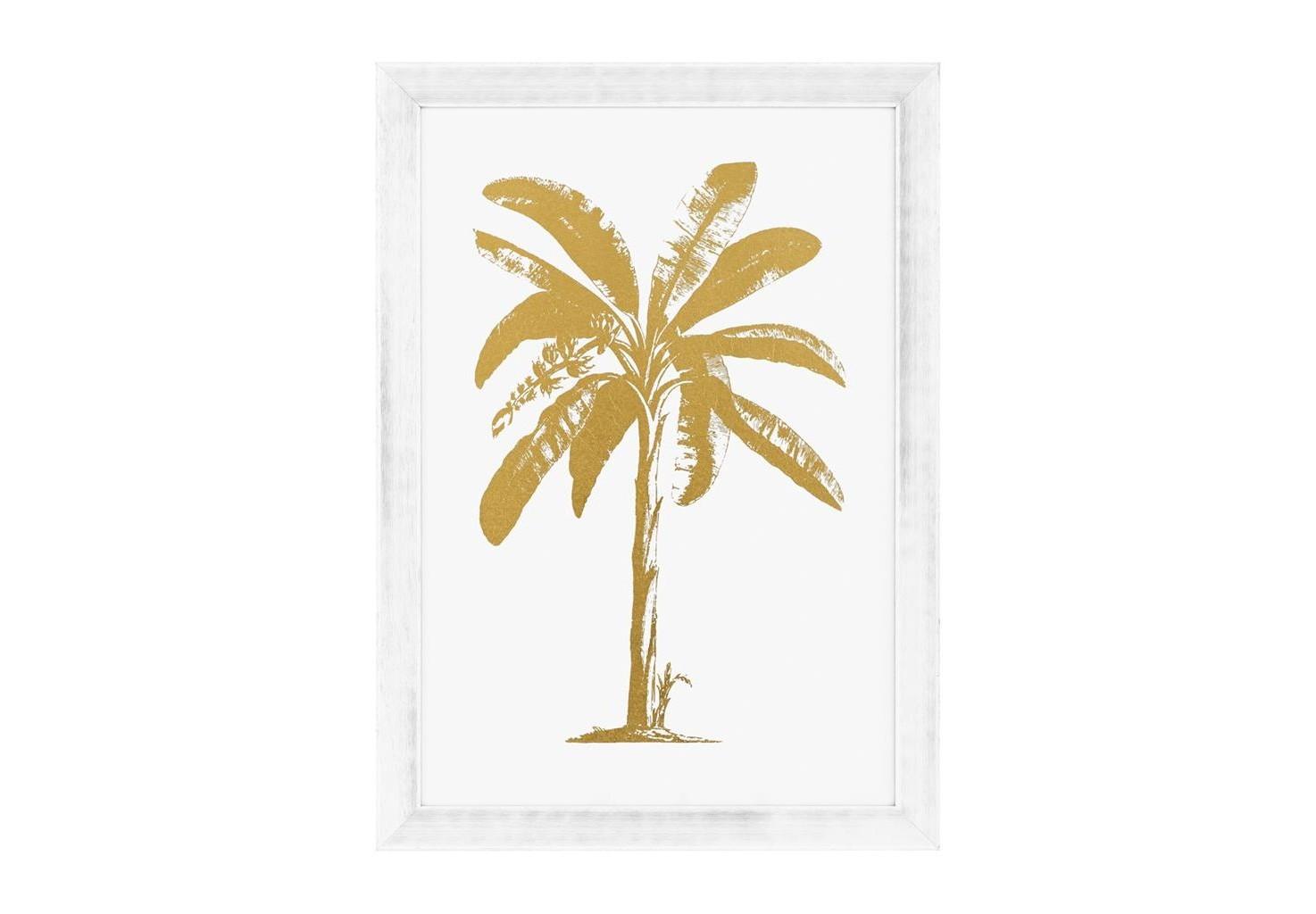 КартинаКартины<br>Постер под стеклом Prints Gold Foil: Tropical Palm с изображением пальмы. Рама выполнена из дерева белого цвета.<br><br>Material: Дерево<br>Ширина см: 87<br>Высота см: 122