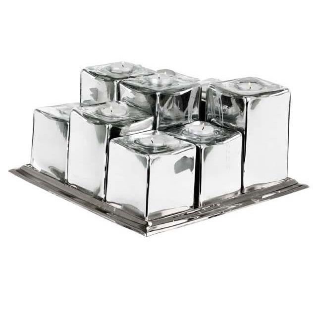 ПодсвечникПодсвечники<br>Tray Bernardo 9 lights - скульптурный набор из 9 подсвечников на подносе. Поднос металлический, подсвечники из металла залитого стеклом. Цвет металла - никель.<br><br>Material: Металл<br>Width см: 35<br>Depth см: 35<br>Height см: 27