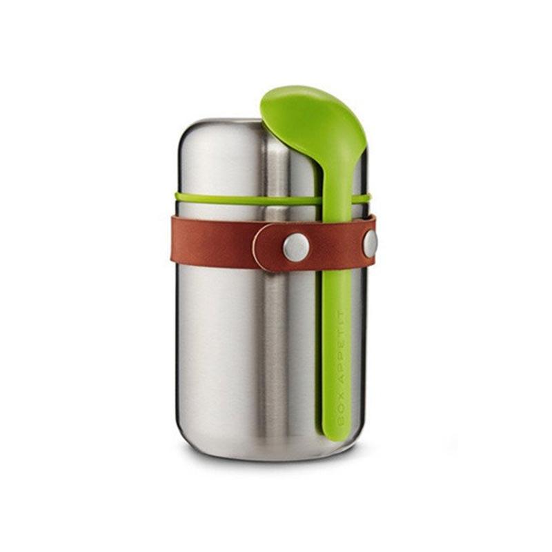 Термос для горячего Food flackТермосы<br>Компактный ланч-бокс для горячего поместится в сумку или рюкзак и всегда порадует теплой и вкусной едой. Современный дизайн сочетается с хорошей функциональностью. Вакуумная колба сохраняет пищу горячей до 6 часов или холодной до 8 часов. Плотная крышка предотвращает вытекание жидкости, создает дополнительную изоляцию.<br><br>Корпус ланч-бокса выполнен из нержавеющей стали, устойчивой к коррозии. Специально разработанная форма ложки позволяет доставать пищу с самого дна. Яркий цвет лайма поднимает настроение и улучшает аппетит. После использования ложку можно пристегнуть обратно к ланч-боку с помощью ремня, изготовленного из веганской кожи. <br><br>Объем: 400 мл.<br><br>Material: Сталь<br>Height см: 16<br>Diameter см: 9