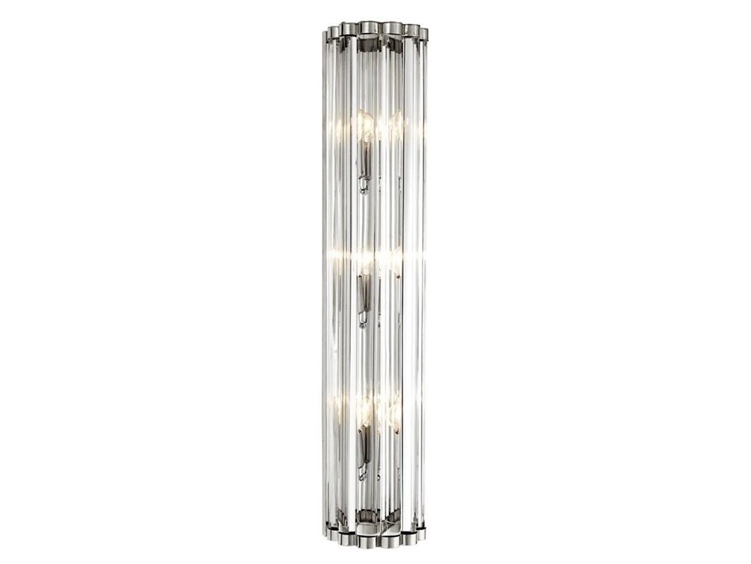 Настенный светильник AmalfiБра<br>Настенный светильник Wall lamp Amalfi выполнен из никелированного металла. Плафон выполнен из фактурного прозрачного стекла.&amp;lt;div&amp;gt;&amp;lt;br&amp;gt;&amp;lt;/div&amp;gt;&amp;lt;div&amp;gt;&amp;lt;div&amp;gt;Цоколь: E14&amp;lt;/div&amp;gt;&amp;lt;div&amp;gt;Мощность: 40W&amp;lt;/div&amp;gt;&amp;lt;div&amp;gt;Количество ламп: 3&amp;lt;/div&amp;gt;&amp;lt;/div&amp;gt;<br><br>Material: Металл<br>Width см: 15<br>Depth см: 11<br>Height см: 75