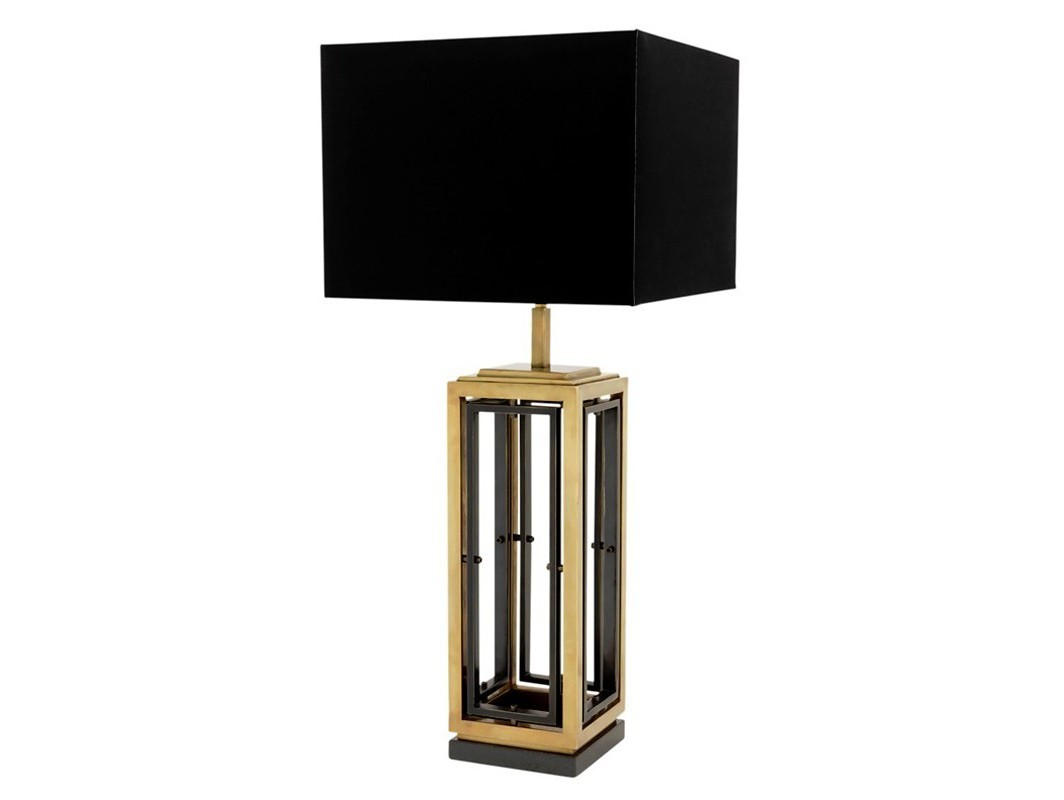 Настольная лампа BlackrockДекоративные лампы<br>Настольная лампа Table Lamp Blackrock на основании из комбинированного золотого и никелированного металла. Текстильный абажур черного цвета скрывает лампу.&amp;lt;div&amp;gt;&amp;lt;br&amp;gt;&amp;lt;/div&amp;gt;&amp;lt;div&amp;gt;Цоколь: E27&amp;lt;/div&amp;gt;&amp;lt;div&amp;gt;Мощность: 40W&amp;lt;/div&amp;gt;&amp;lt;div&amp;gt;Количество ламп: 1&amp;lt;/div&amp;gt;<br><br>Material: Металл<br>Ширина см: 40.0<br>Высота см: 96.0<br>Глубина см: 20.0