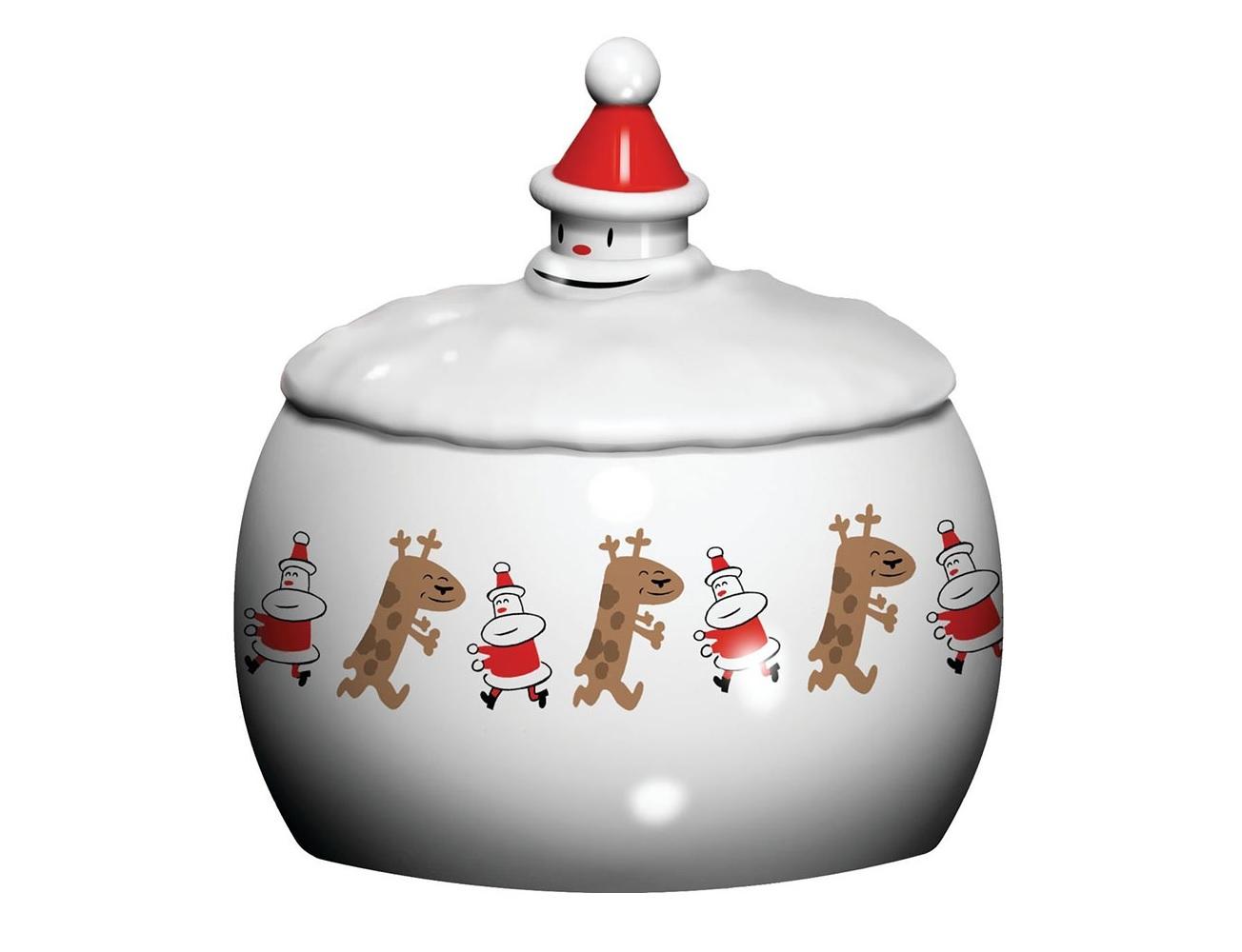 Банка для печенья let in snowЕмкости для хранения<br>Благодаря своему веселому новогоднему рисунку банка для печенья Let in snow прекрасно дополнит ваш интерьер, а также послужит оригинальным декором праздничному столу. <br>Такой рисунок одинаково порадует и детей, и взрослых - итальянский бренд Alessi известен своим сотрудничеством с лучшими дизайнерами и художниками. Приобретя банку для печенья Let in snow, вы получаете не только удобный резервуар для хранения различных вкусностей, но и по-настоящему авторскую вещь.<br><br>Material: Фарфор<br>Высота см: 19