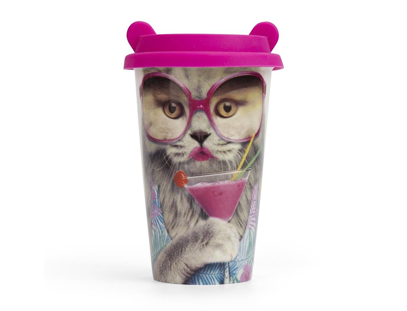 Стакан для кофе catСтаканы и кружки<br>Любите кофе и выглядеть стильно? Этот стакан отразит обе ваши привязанности! Двойные стенки сохранят кофе горячим, крышка с ушами привлечёт внимание, а стильный дизайн отлично впишется в вашу жизнь. Стакан сделан из керамики и приятен в использовании. Больше кофе и больше хорошего настроения!<br><br>Material: Керамика<br>Height см: 16<br>Diameter см: 10