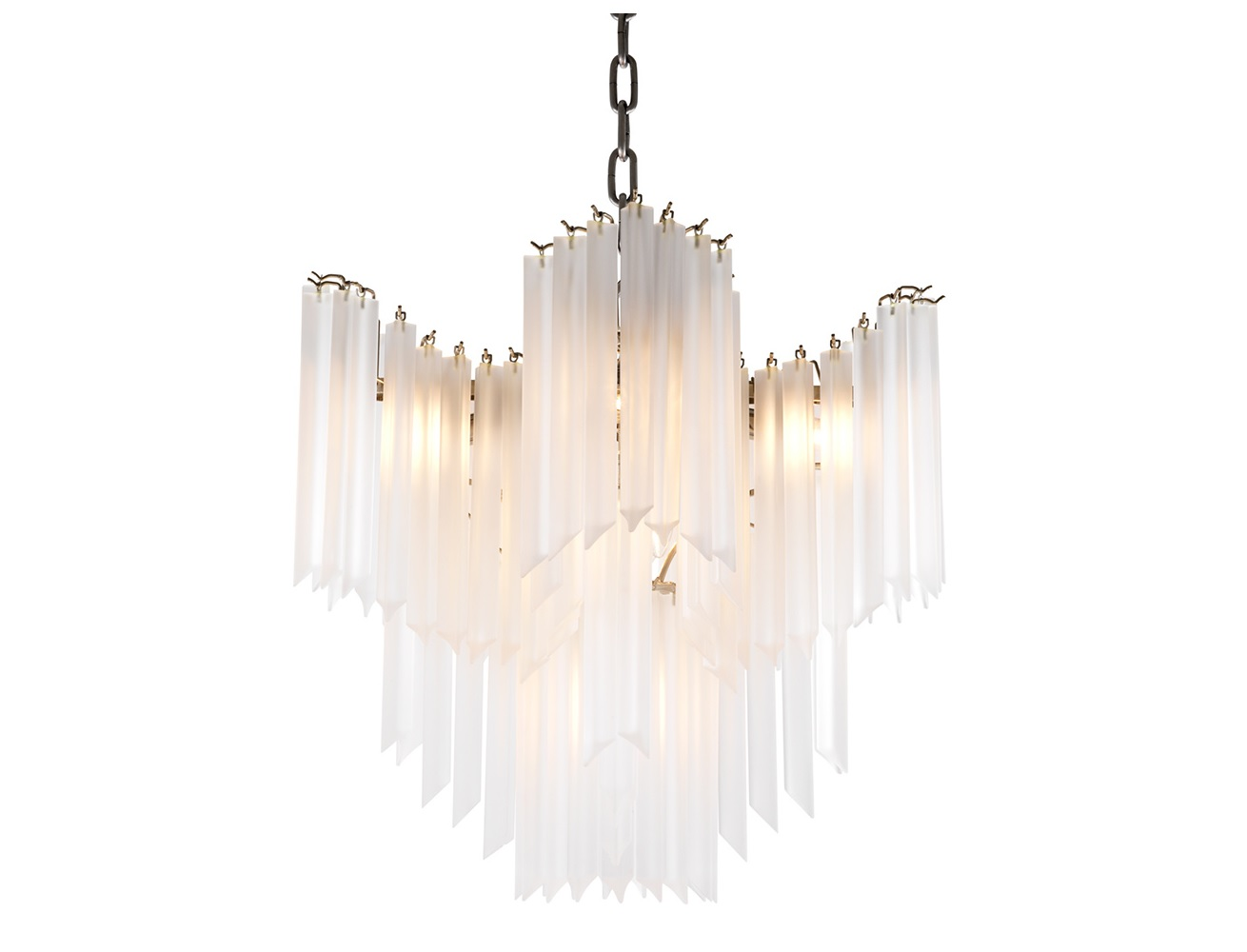 Люстра PulsarЛюстры подвесные<br>Подвесной светильник из коллекции Chandelier Pulsar на никелированной арматуре. Плафон выполнен из многоуровневых пластин из стекла матового белого цвета. Высота светильника регулируется за счет звеньев цепи.&amp;lt;div&amp;gt;&amp;lt;br&amp;gt;&amp;lt;/div&amp;gt;&amp;lt;div&amp;gt;&amp;lt;div&amp;gt;&amp;lt;div&amp;gt;Вид цоколя: E14&amp;lt;/div&amp;gt;&amp;lt;div&amp;gt;Мощность лампы: 40W&amp;lt;/div&amp;gt;&amp;lt;div&amp;gt;Количество ламп: 9&amp;lt;/div&amp;gt;&amp;lt;/div&amp;gt;&amp;lt;div&amp;gt;&amp;lt;br&amp;gt;&amp;lt;/div&amp;gt;&amp;lt;div&amp;gt;Лампочки в комплект не входят.&amp;lt;/div&amp;gt;&amp;lt;/div&amp;gt;<br><br>Material: Стекло<br>Ширина см: 60<br>Высота см: 60<br>Глубина см: 60