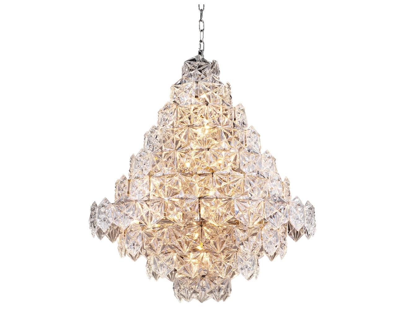 Люстра Chandelier Hermitage LЛюстры подвесные<br>Подвесной светильник Chandelier Hermitage L на никелированной арматуре. Плафон выполнен из множества пластин из фактурного прозрачного стекла. Высота светильника регулируется за счет звеньев цепи.&amp;lt;div&amp;gt;&amp;lt;br&amp;gt;&amp;lt;/div&amp;gt;&amp;lt;div&amp;gt;&amp;lt;div&amp;gt;Вид цоколя: E14&amp;lt;/div&amp;gt;&amp;lt;div&amp;gt;Мощность лампы: 40W&amp;lt;/div&amp;gt;&amp;lt;div&amp;gt;Количество ламп: 12&amp;lt;/div&amp;gt;&amp;lt;/div&amp;gt;&amp;lt;div&amp;gt;&amp;lt;br&amp;gt;&amp;lt;/div&amp;gt;&amp;lt;div&amp;gt;Лампочки в комплект не входят.&amp;lt;/div&amp;gt;<br><br>Material: Стекло<br>Width см: 80<br>Depth см: 80<br>Height см: 95<br>Diameter см: None