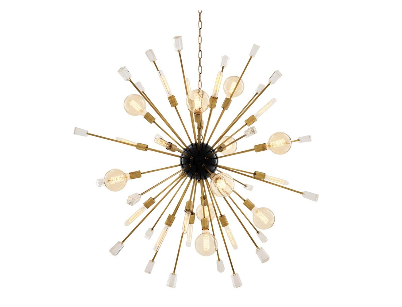 Подвесной светильник Chandelier Tivoli LПодвесные светильники<br>Подвесной светильник Chandelier Tivoli L на арматуре цвета латунь. Плафон с оригинальным дизайном в виде &amp;quot;одуванчика&amp;quot;. Прозрачные стеклянные кристаллы в виде декора. Высота светильника регулируется за счет звеньев цепи.&amp;lt;div&amp;gt;&amp;lt;br&amp;gt;&amp;lt;/div&amp;gt;&amp;lt;div&amp;gt;&amp;lt;div&amp;gt;&amp;lt;div&amp;gt;Вид цоколя: E27&amp;lt;/div&amp;gt;&amp;lt;div&amp;gt;Мощность лампы: 40W&amp;lt;/div&amp;gt;&amp;lt;div&amp;gt;Количество ламп: 24&amp;lt;/div&amp;gt;&amp;lt;/div&amp;gt;&amp;lt;div&amp;gt;&amp;lt;br&amp;gt;&amp;lt;/div&amp;gt;&amp;lt;div&amp;gt;Лампочки в комплект не входят.&amp;lt;/div&amp;gt;&amp;lt;/div&amp;gt;<br><br>Material: Металл<br>Width см: 148<br>Depth см: 148<br>Height см: 148