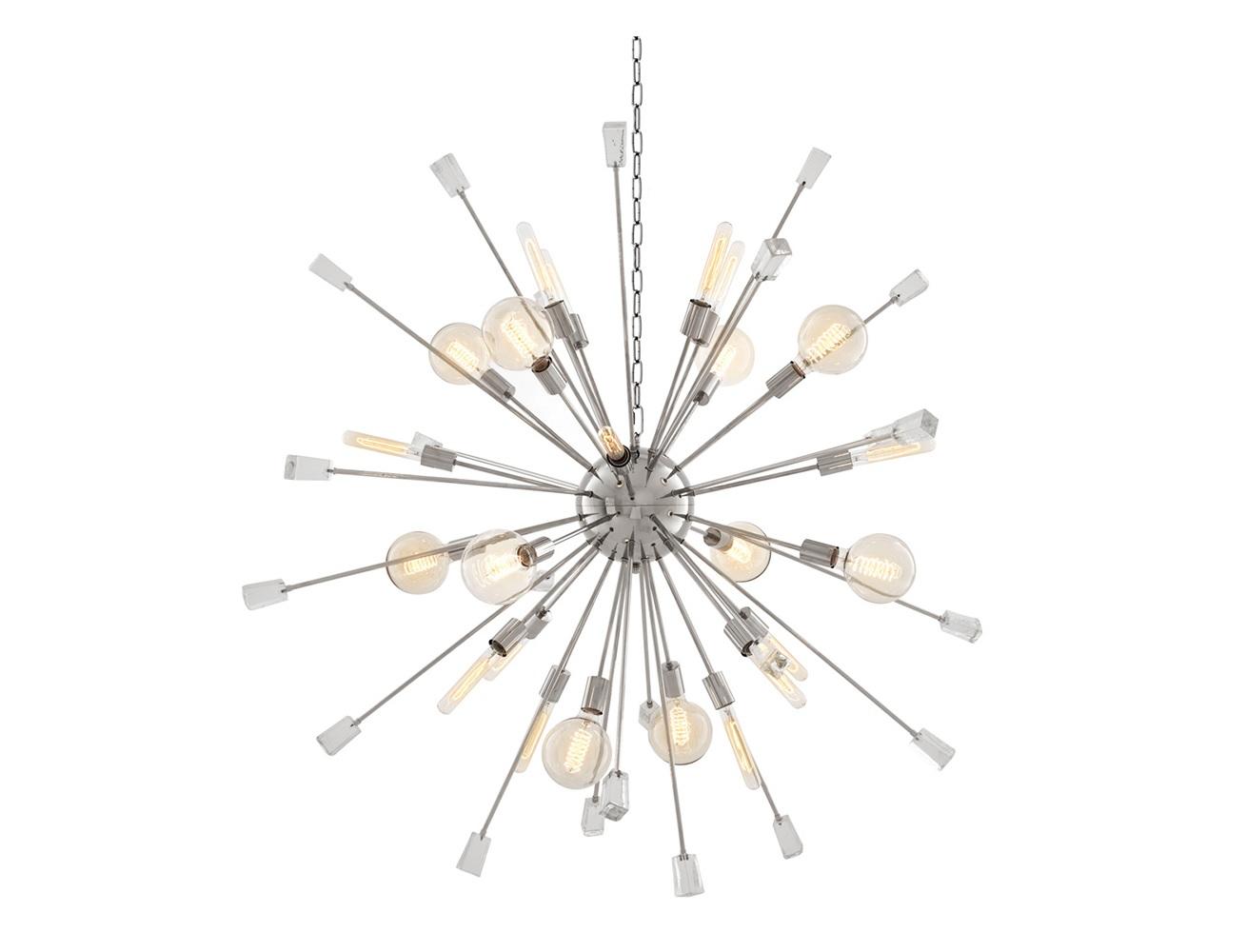 Подвесной светильник Chandelier Tivoli LПодвесные светильники<br>Подвесной светильник Chandelier Tivoli L на никелированной арматуре. Плафон с оригинальным дизайном в виде &amp;quot;одуванчика&amp;quot;. Прозрачные стеклянные кристаллы в виде декора. Высота светильника регулируется за счет звеньев цепи.&amp;lt;div&amp;gt;&amp;lt;br&amp;gt;&amp;lt;div&amp;gt;&amp;lt;div&amp;gt;&amp;lt;div&amp;gt;Вид цоколя: E27&amp;lt;/div&amp;gt;&amp;lt;div&amp;gt;Мощность лампы: 40W&amp;lt;/div&amp;gt;&amp;lt;div&amp;gt;Количество ламп: 24&amp;lt;/div&amp;gt;&amp;lt;/div&amp;gt;&amp;lt;div&amp;gt;&amp;lt;br&amp;gt;&amp;lt;/div&amp;gt;&amp;lt;div&amp;gt;Лампочки в комплект не входят.&amp;lt;/div&amp;gt;&amp;lt;/div&amp;gt;&amp;lt;/div&amp;gt;<br><br>Material: Металл<br>Width см: 148<br>Depth см: 148<br>Height см: 148