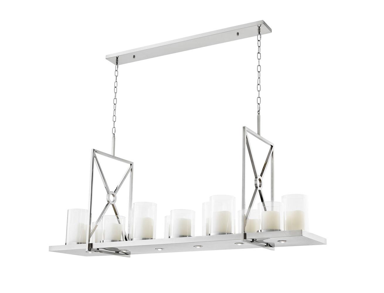 Подвесной светильник Chandelier SummitПодвесные светильники<br>Подвесной светильник Chandelier Summit из полированной нержавеющей стали. Плафон с оригинальным дизайном в виде пластины, на которой расположены декоративные свечи со светодиодами. Свечи в стаканах из прозрачного стекла. В комплекте пульт управления.&amp;lt;div&amp;gt;&amp;lt;br&amp;gt;&amp;lt;/div&amp;gt;&amp;lt;div&amp;gt;&amp;lt;div&amp;gt;Вид цоколя: LED&amp;lt;/div&amp;gt;&amp;lt;div&amp;gt;Мощность лампы: 5W&amp;lt;/div&amp;gt;&amp;lt;div&amp;gt;Количество ламп: 12&amp;lt;/div&amp;gt;&amp;lt;/div&amp;gt;<br><br>Material: Металл<br>Ширина см: 160<br>Высота см: 68<br>Глубина см: 41