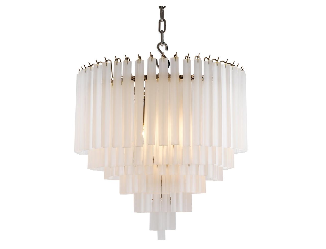 Подвесная люстра NovaЛюстры подвесные<br>Подвесной светильник из коллекции Nova на никелированной арматуре. Плафон выполнен из многоуровневых пластин из стекла матового белого цвета. Высота светильника регулируется за счет звеньев цепи.&amp;lt;div&amp;gt;&amp;lt;br&amp;gt;&amp;lt;/div&amp;gt;&amp;lt;div&amp;gt;&amp;lt;div&amp;gt;Вид цоколя: E14&amp;lt;/div&amp;gt;&amp;lt;div&amp;gt;Мощность лампы: 40W&amp;lt;/div&amp;gt;&amp;lt;div&amp;gt;Количество ламп: 9&amp;lt;/div&amp;gt;&amp;lt;div&amp;gt;&amp;lt;br&amp;gt;&amp;lt;/div&amp;gt;&amp;lt;div&amp;gt;Лампочки в комплект не входят.&amp;lt;/div&amp;gt;&amp;lt;/div&amp;gt;<br><br>Material: Стекло<br>Height см: 60<br>Diameter см: 60