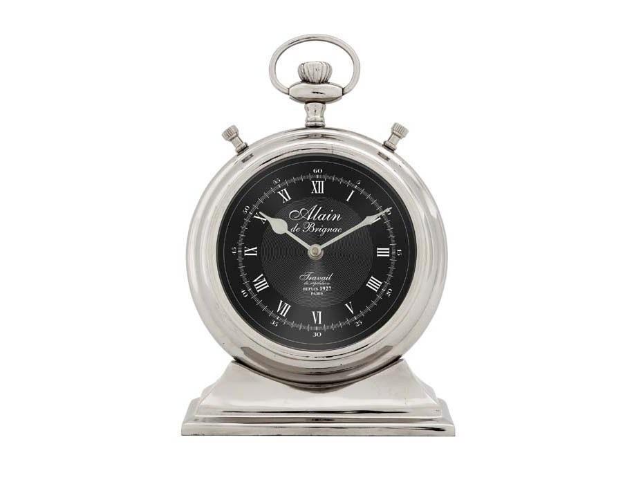 ЧасыНастольные часы<br>Clock Alain De Brignac Small - часы настольные. Цвет металла - светлый никель.&amp;amp;nbsp;&amp;lt;span style=&amp;quot;font-size: 14px;&amp;quot;&amp;gt;Кварцевый механизм.&amp;lt;/span&amp;gt;<br><br>Material: Металл<br>Ширина см: 13.0<br>Высота см: 20.0