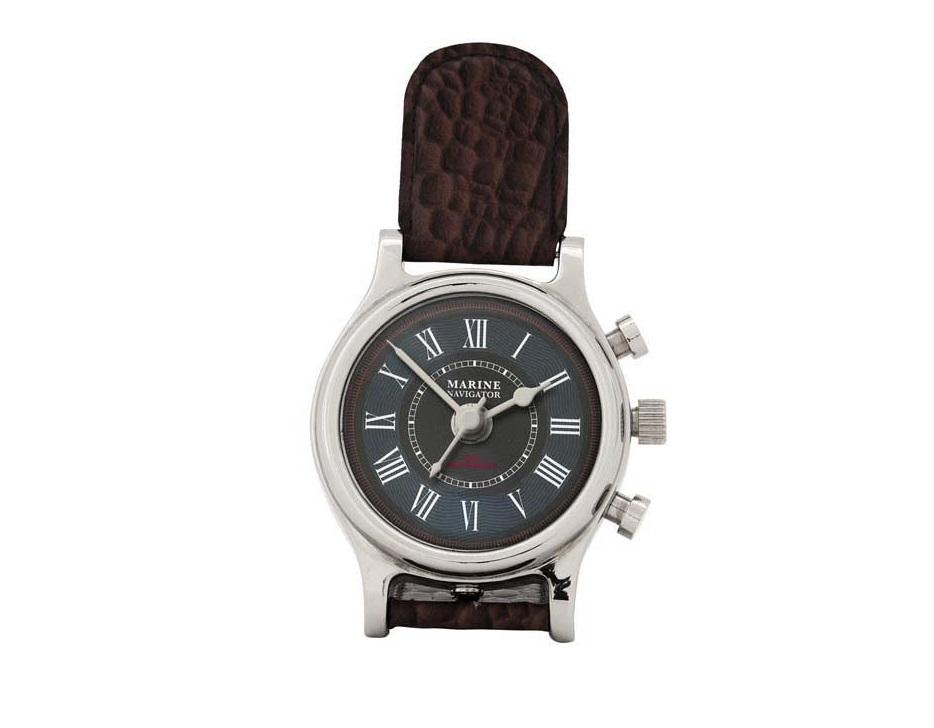 ЧасыНастольные часы<br>Clock Marine Navigator - часы настольные. Цвет металла - никель. Коричневая кожа.&amp;amp;nbsp;&amp;lt;span style=&amp;quot;font-size: 14px;&amp;quot;&amp;gt;Кварцевый механизм.&amp;lt;/span&amp;gt;<br><br>Material: Металл<br>Width см: 9<br>Height см: 19