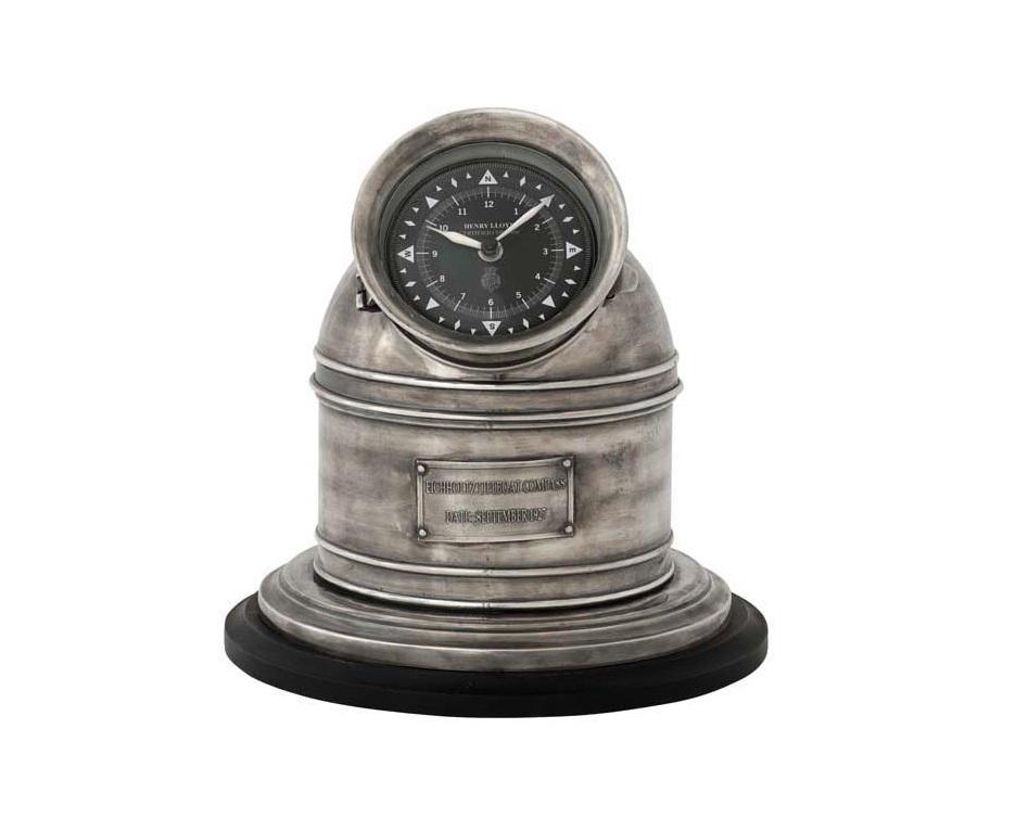 ЧасыНастольные часы<br>Clock Compass Henry Lloyd - часы настольные. Цвет металла - состаренное серебро. Кварцевый механизм.<br><br>Material: Металл<br>Height см: 27<br>Diameter см: 28