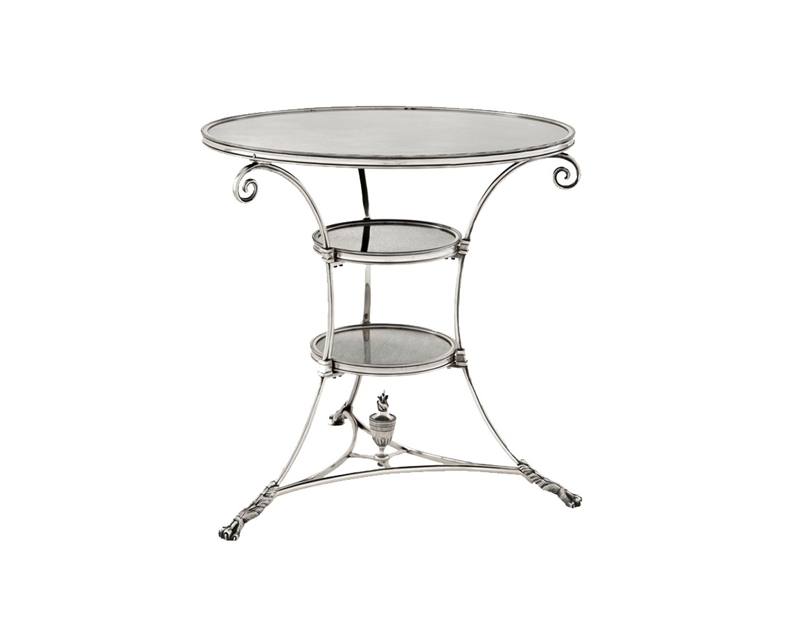 СтолОбеденные столы<br>Столик с оригинальным дизайном Rubinstein L выполнен из металла цвета античное серебро. Несколько уровней столешниц из античного стекла.<br><br>Material: Металл<br>Height см: 71<br>Diameter см: 70
