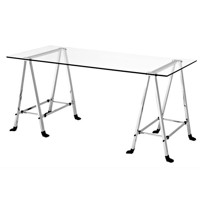 СтолОбеденные столы<br>Стол Desk Lorentz с каркасом из никелированного металла и нержавещей стали. Столешница из плотного прозрачного стекла.<br><br>Material: Стекло<br>Width см: 180<br>Depth см: 80<br>Height см: 78