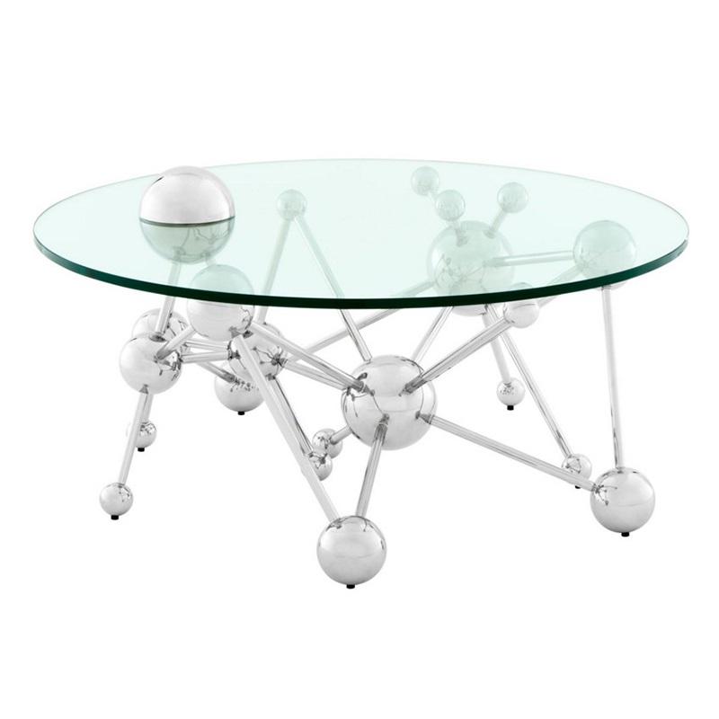 Журнальный столикЖурнальные столики<br>Журнальный столик Coffee Table Galileo на основании из нержавеющей стали с оригинальным дизайном в научном стиле. Столешница выполнена из плотного прозрачного стекла.<br><br>Material: Стекло<br>Height см: 44<br>Diameter см: 100